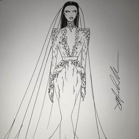 Sketch of Nicole Williams wedding dress by Michael Costello