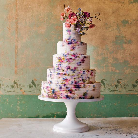 maggie austin ribbon wrapped watercolor cake