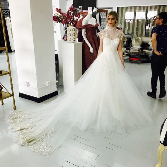 Carlson Young in Custom Christian Siriano Wedding Dress