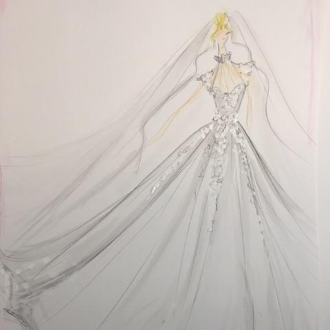 Christian Siriano Dress Sketch Custom Carlson Young Wedding Dress