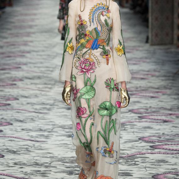 Runway photo of Dianna Agron's Gucci dress for her wedding weekend