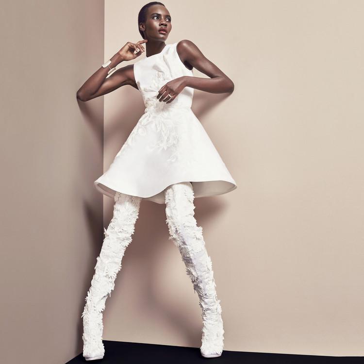 white short dress christian louboutin boots