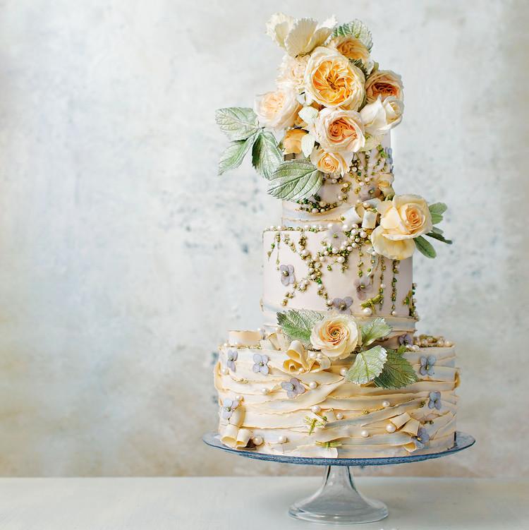 maggie austin floral pearl ribbon cake