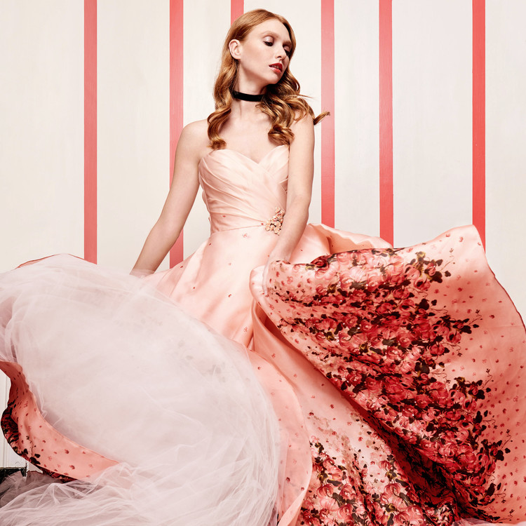 peach gown with tulle
