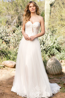 sweetheart lace chiffon gown
