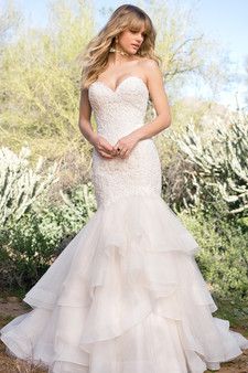 lace sweetheart layered gown