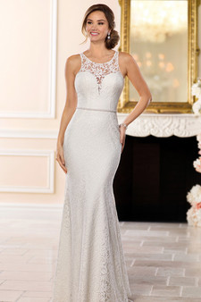 stella york high neck lace gown