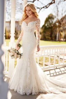 martina liana off-the-shoulder lace gown