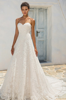 justin alexander sweetheart strapless embroidered gown
