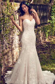 maggie sottero fit and flair strapless