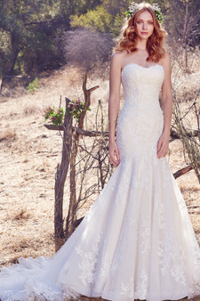 maggie sottero fit and flare aretha gown