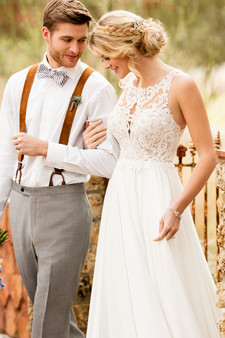 essense of australia high neck couple wedding