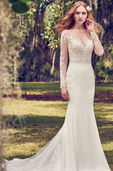 maggie sottero sheath v-neck