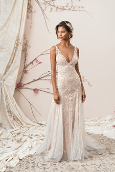justin alexander signature v-neck layered gown