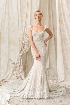 justin alexander signature cap-sleeve mermaid gown
