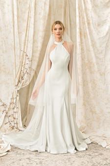 justin alexander signature high-neck halter gown