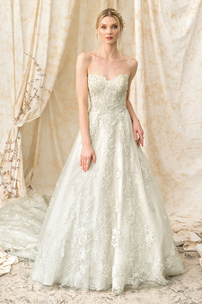 justin alexander signature strapless embroidered gown