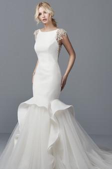 sottero and midgley wedding dress organza bateau neckline