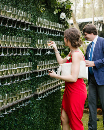 wedding plant wall greenery with champagne glasses