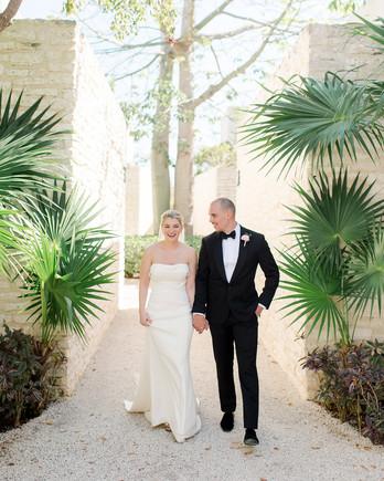katie nick wedding couple walking in mexico