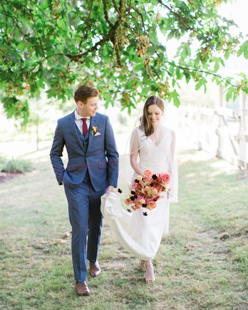 paige matt wedding couple under tree