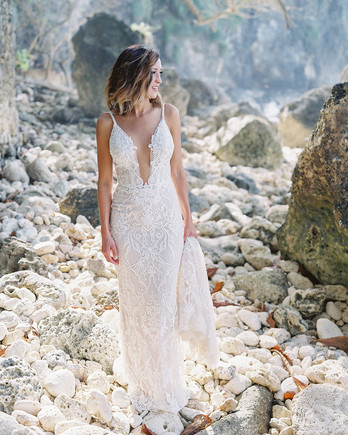 jessica ryan wedding bride standing on rocks