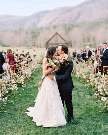 maya trey wedding couple kiss