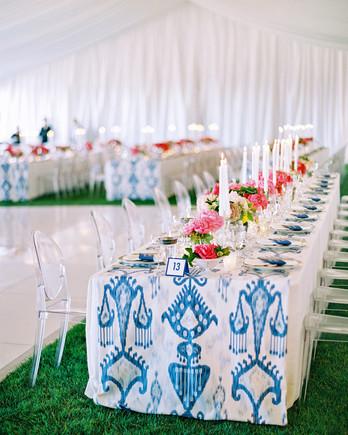 ikat runner reception table