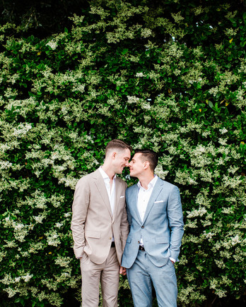 david tim wedding couple in front of greenery wall