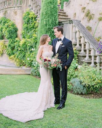 ally brian wedding couple on garden lawn