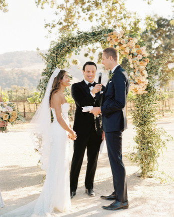 groom's childhood friend as Officiant during wedding ceremony