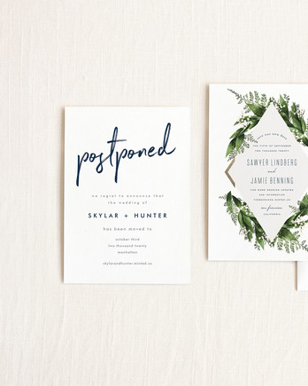 Wedding Postponement, Date Change Cards from Minted
