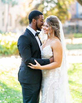 wedding couple embracing for portrait