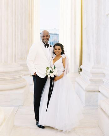 denita john wedding couple at monument