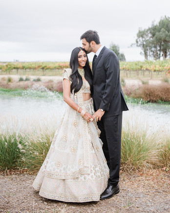 divya tejas wedding couple by lake