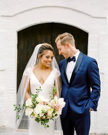 happy wedding couple bride holding bouquet