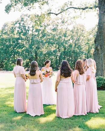 evie joe wedding bridesmaids in pastel pink