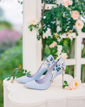 Ted Baker London pale blue floral patterned heels