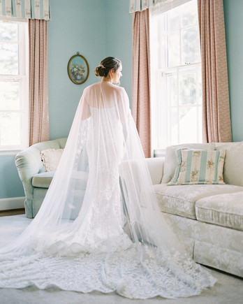 bride dress full length cape
