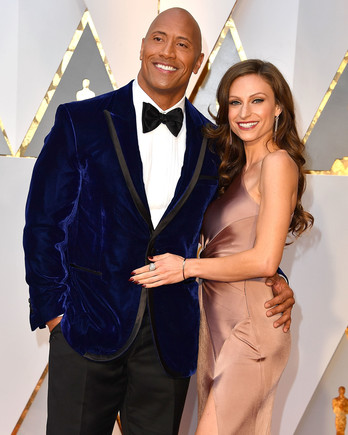 dwayne johnson the rock and lauren hashian red carpet