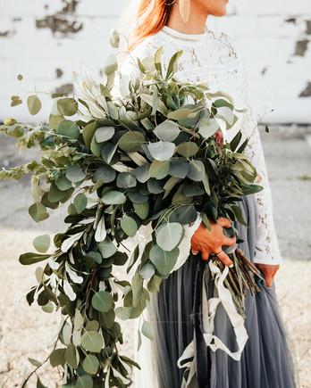 large eucalyptus wedding bouquet