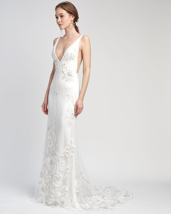 spaghetti strap deep v-neck floral applique train a-line wedding dress Lover of Mine by Alexandra Grecco Spring 2020