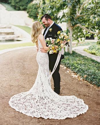 charla jesse wedding bride and groom on path