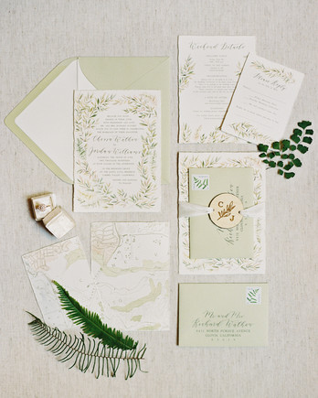 light green invitation suite