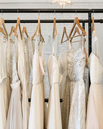 wedding dress rack shopping with grandma