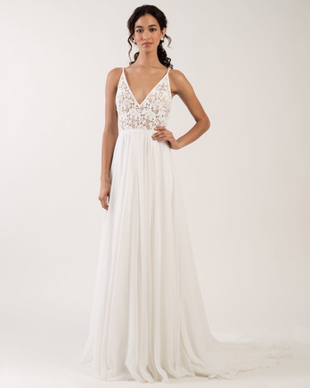 spaghetti strap v-neck sheer lace bodice a-line wedding dress Jenny by Jenny Yoo Spring 2020