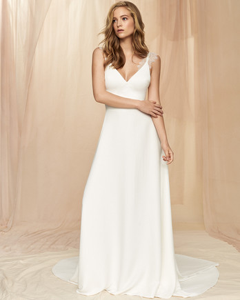 Savannah Miller lace detail thin strap deep v-neck a-line wedding dress fall 2020