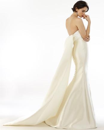 Steven Birnbaum strapless train back buttoned trumpet wedding dress fall 2020