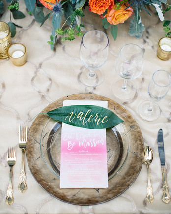 Elegant Tropical Place Settings with Calligraphed Leaf Place Cards