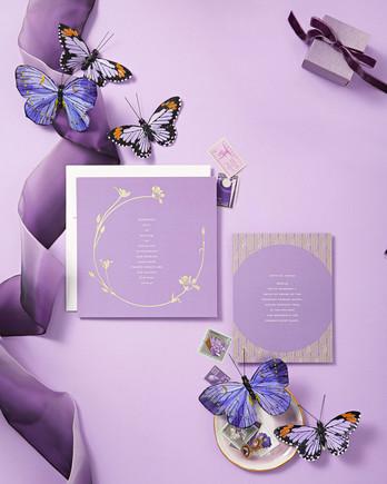 violet palette butterflies invitations